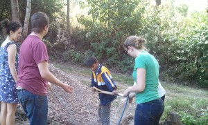 Washing rocks. Jonathan--the youngest of the 5 siblings--was by far our most industrious worker!
