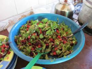 A fresh salad made with our own lettuce... Yum!