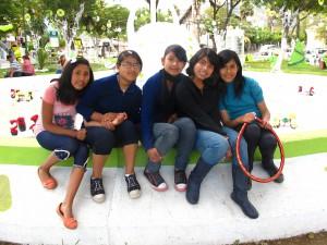 Plaza Cala Cala with the girls