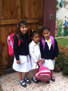 Bryssa, Victoria, and Nohemi on their way to class. It is Victoria´s first year in school, and she is a lot more excited about it than her expression lets on!