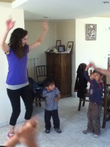 """Tía Jeanette learning to dance """"Tinku"""" (a Bolivian Aymara traditional dance)"""