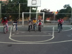 Bike race--Mariela, Bryssa, Alandra, Adriana, Marcos, and Laura
